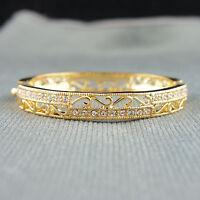 18k Gold plated with Swarovski crystals filigree bangle bracelet