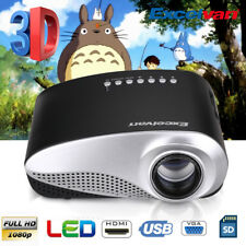 Mini 3D HD 1080P Projector LED Multimedia Home Theater USB VGA HDMI AV SD Black