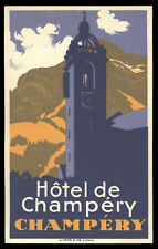Hotel de Champery CHAMPERY Switzerland - vintage luggage label