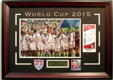 2015 USA Women's Soccer World Cup Champions Framed 11x17 Photo & Replica Ticket