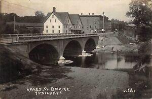 YPSILANTI Michigan postcard Washtenaw County RPPC J H Cave photo Cross St Bridge