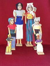 "New Listing6 South American Folk Art Dolls Fabric, Paper, Wood Aprx 9"", 6.5"" 4"" Tall (2 ea)"