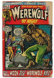 WEREWOLF BY NIGHT#1 GD 1972 MARVEL BRONZE AGE COMICS