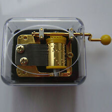MARY HAD A LITTLE LAMB Acrylic Hand Crank Gurdy Gold Movement Music Box