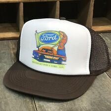 Ford Truck Vintage 70's Or 80's Style Trucker Hat Mwah Snapback Cap Brown