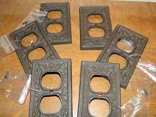 Set/6 Fluer De Lis French Cast Iron Wall Electric Plug Double Outlet Cover Plate