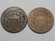 2 Civil War Era US Two Cent Coins: 1864 & 1865. 2¢.  #166