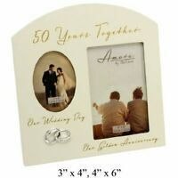 Amore Golden 50th Anniversary Wedding Gift Cream Photo Frame - 6x4