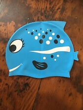Child's Swimming Hat, Cap. Blue Fish, Silicone
