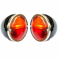 Rear Combination Light Set Black Body Chrome Ring Lens Amber and Red for Tractor