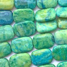 Serpentine 25x18mm Blue Green Rectangle Semi Precious Stone Q8 Beads per Pkg