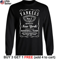 New York Yankees Long T-Shirt Whiskey NY NYC Men Cotton JD Whisky
