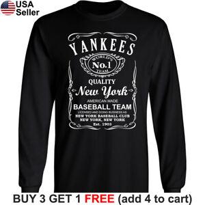 New York Yankees Long T-Shirt Whiskey NY NYC Men Cotton JD Whisky