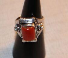 Ring Damenring Silber 925 mit grossem roten Stein, wohl Koralle Jaspis Carneol