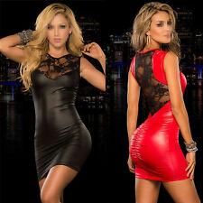 Tight fitting Women Sexy PVC Leather Wet Look Bodycon Mini Dress Nightclub