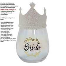 celebration wine glass with wearable crown hat for 18th,21st,30th,40th,50th,60th