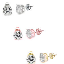 Unisex Round Screw Back 2MM-7MM Stud Earrings .925 Sterling Silver Three Colors