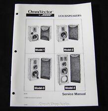 Original Bose OmniVector Loudspeakers 1, 2, 3, 4 Service Manual