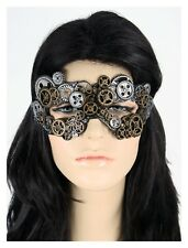 SteamPunk Eye Mask Masquerade Women Men Costume Accessory Gold Silver Gears