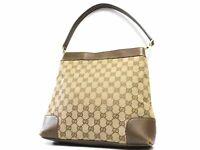 GUCCI handbag GG Monogram Brown Shoulder Tote Hand Bag Purse Auth