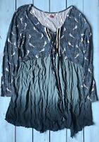 Joe Browns Dark Blue Bird Print Ombre Lace Up Open Tunic Top 18 - B26