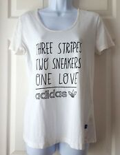 Adidas Originals Women Graphic T shirt Three Stripes,Two Sneakers One Love sz 36