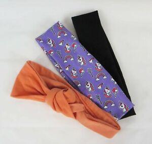 Headband Wrap Lot of 3 Purple Unicorn Rainbow, Black, Orange
