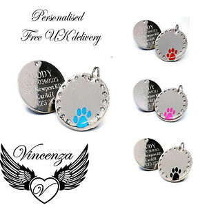 Personalised Round Crystal Paw Design Dog Pet ID Tag Disc Engraved