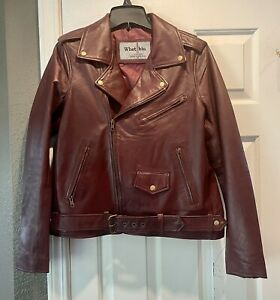 whet blue Womens Leather Moto Jacket OX BLOOD RED Size Large NEW