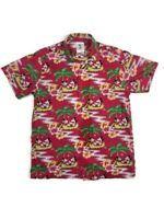 Vintage Mickey & Co Button Up JG Hook Mickey Minnie Mouse Tropical Shirt Red Med