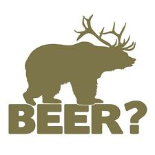 Bear+deer = Cerveza! Funny Caza Broma coche ventana Vinilo Autoadhesiva De Oro Metálico