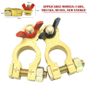 1 Pair Car Battery Pure Copper Terminal Clamp Clips Connector Negative+Positive
