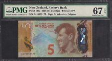 2015-16 New Zealand Bank Note $5 P191a PMG 67 EPQ TMM*