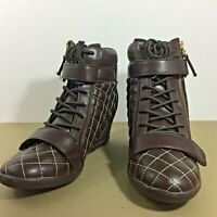 Wedge Ankle Boots 7W Quilted Women's Diane Gilman DG2 Brown Espresso