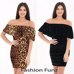 Womens Velvet Off Shoulder Frill Bardot Leopard Print Bodycon Mini Party Dress