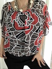 JANE LAMERTON WOMENS TOP LINED FLORAL PRINT POLYESTER Work Party SZ 16