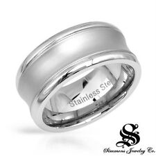 RUSSELL SIMMONS STAINLESS STEEL w/ DIAMOND ACCENT WEDDING BAND RING Sz US-10