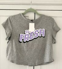 NWT Grey Short Sleeve Slogan Crop Top, Cropped T-shirt - H&M, Size M