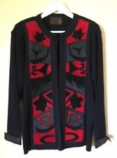 Authentic Jacques Cartier Black Art Deco Suede Cardigan Sweater Jacket Size M