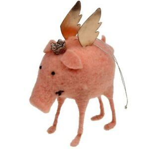 Felt Pendant Flying Pig Christmas Happiness Christmas Tree Jewelry Gold