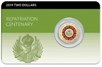 2019 $2 REPATRIATION CENTENARY Lest we Forget Coin on Card