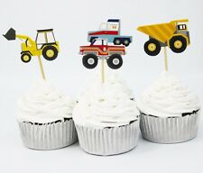 12 Construction Dump Truck Digger Cupcake Toppers Boys Birthday Party