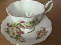 Queen Anne Fine Bone China Tea Cup and Saucer white and pink Flowers. England