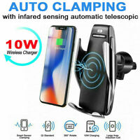 360° Rotate Wireless Car Charger Auto Clamping Charging Mount For iPhone Samsung