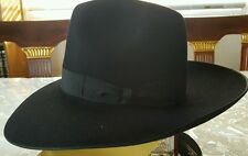 "Borsalino fedora New Black hat size 53 US 6 5/8ths  3 7/8ths"" Brim. Imperfect"