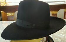 "Borsalino fedora Brand New Black hat size 53 US 6 5/8ths  3 3/4"" Brim. #5"