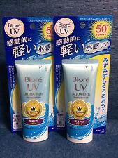 2 x OLD DESIGN Kao Biore UV SPF50+ AQUA Rich Sunscreen Cream Made In Japan