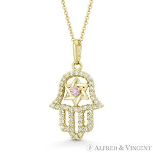 Hamsa Hand Star of David Faux Tourmaline Pink CZ Crystal 14k Yellow Gold Pendant