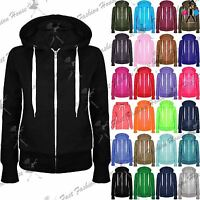 Ladies Plain Hoody Girls Zip Top Womens Hoodies Sweatshirt Jacket Plus Size 6-26