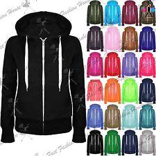 Ladies Plain Hoody Girls Zip Top Womens Hoodies Sweatshirt Jacket Plus Size 6-26
